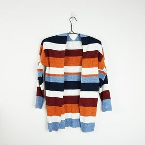 Sweaters - Color block long sleeve striped cardigan